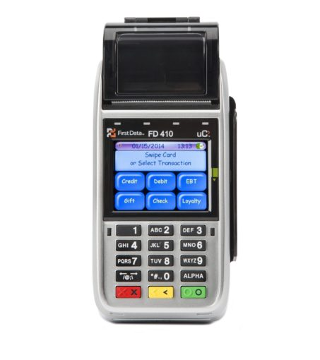 photo of a FD-410 wireless payment terminal