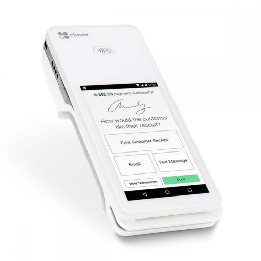 photograph of the Clover Flex with on-screen receipt signature displayed